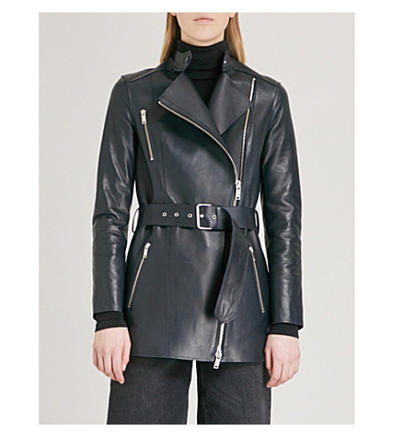REISS Rene belted leather jacket (Night+navy