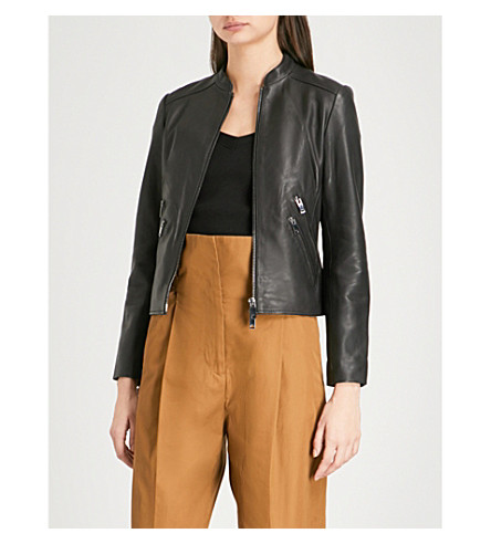 REISS Thea stand-collar leather jacket (Black
