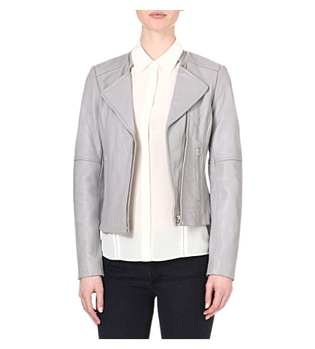 REISS Jenn leather biker jacket (Grey
