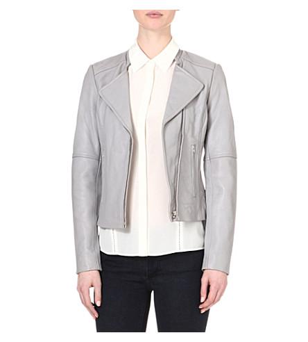 REISS Jenn leather biker jacket (Grey