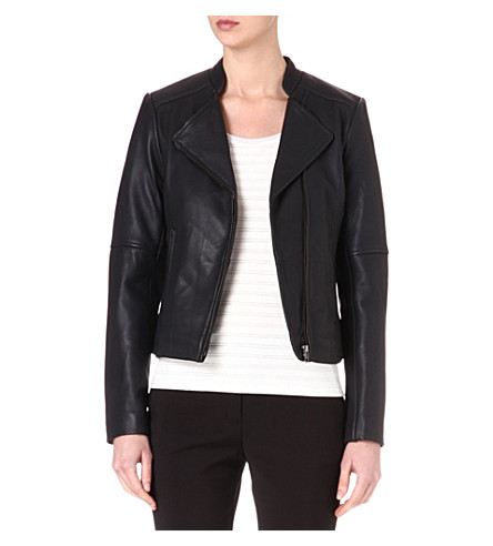 REISS Jenn leather biker jacket (Navy