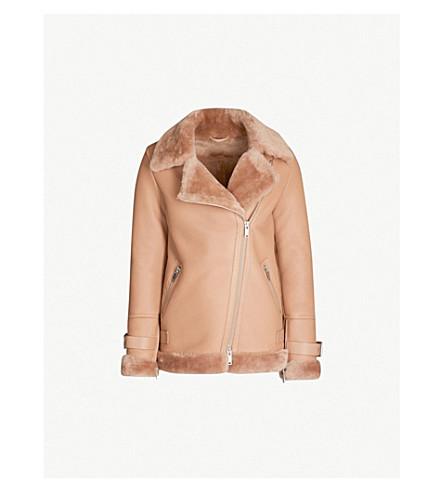 REISS Payton shearling jacket (Pink