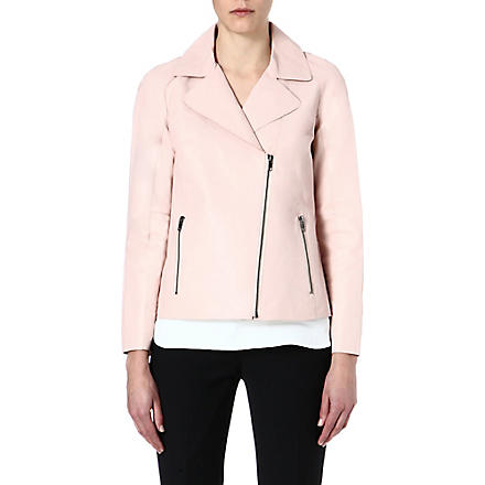 REISS Fray leather jacket (Coral