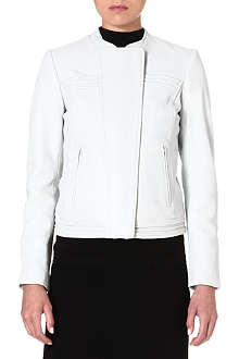 REISS Stitch-detail leather jacket
