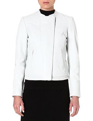 REISS Stitch-detail leather jacket