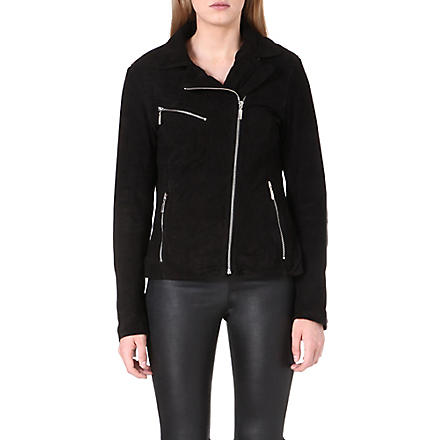 REISS Mick suede biker jacket (Black