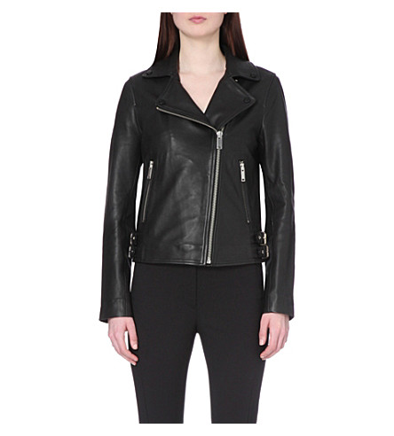 REISS Caden leather biker jacket (Black