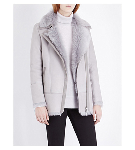 REISS Nicole sheepskin coat (Grey