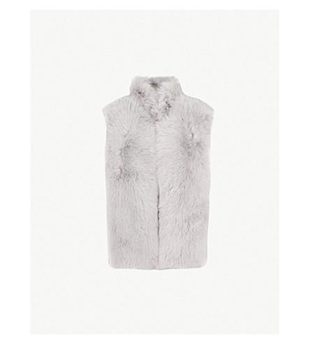REISS Tessa sleevless shearling gilet (Light+grey