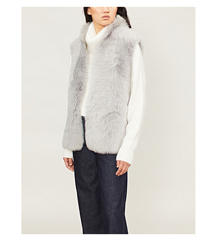 REISS Tessa sleevless shearling gilet (Light+grey
