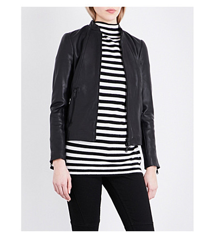 REISS Serge tailored leather jacket (Black