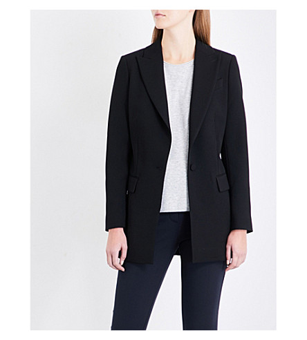 REISS Oxley peak lapel crepe jacket (Black