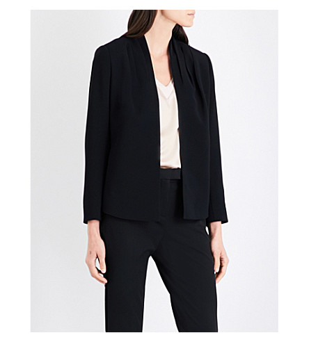 REISS Sancia pleated shoulder woven jacket (Black