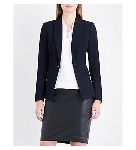 REISS Tilda single-breasted seersucker jacket (Night+navy