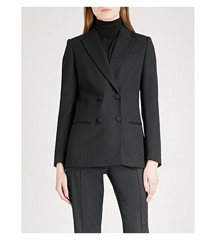 REISS Nola double-breasted wool blazer (Black