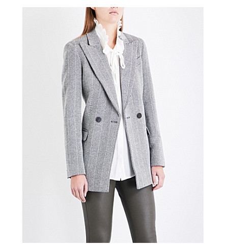 REISS Oakley single-breasted wool-blend jacket (Black/white