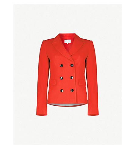 REISS Izzy double-breasted crepe blazer (Maraschino