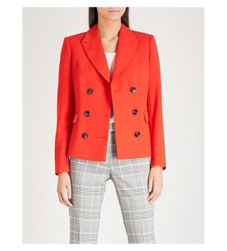 REISS 双排扣绉西装外套 (樱桃