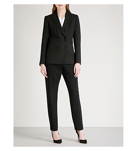 REISS Ethie double-breasted crepe blazer (Black