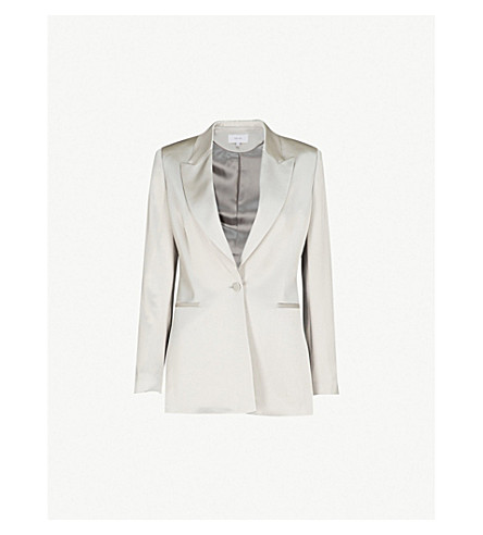 REISS Teya single-breasted satin blazer (Flint