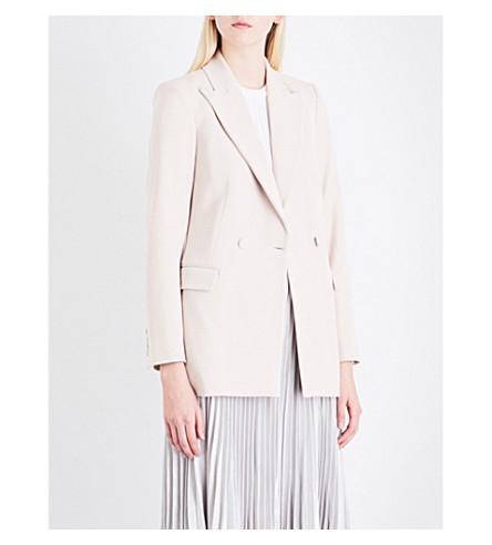 REISS Oak double-breasted crepe jacket (Neutral
