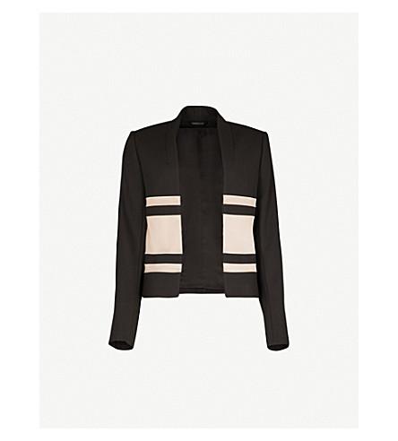 REISS Selda satin-panel crepe blazer (Black