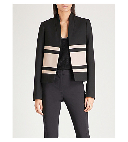REISS Selda satin-panel crepe blazer (Black