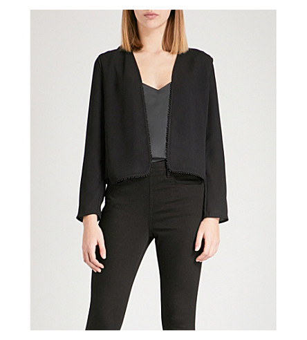 REISS Nada embroidered-trim crepe jacket (Black