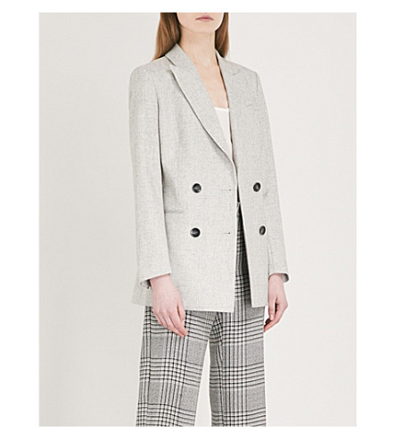 REISS Logan double-breasted wool-blend jacket (Grey