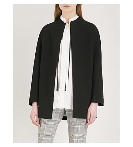 REISS Farrow belted crepe wrap coat (Black