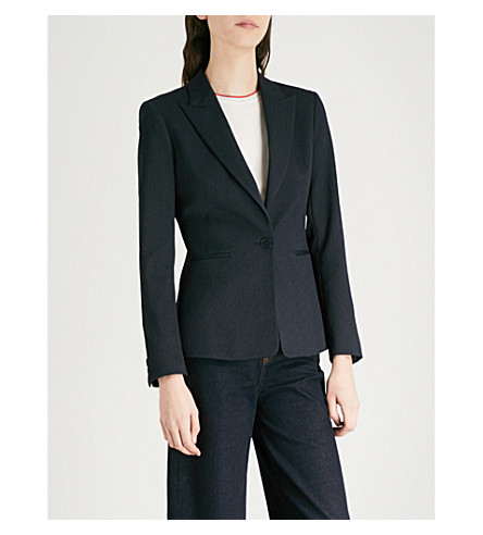 REISS Rio tailored-fit crepe jacket (Night+navy