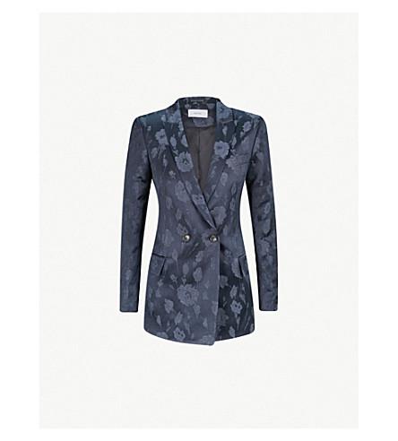 REISS Peony jacquard jacket (Navy