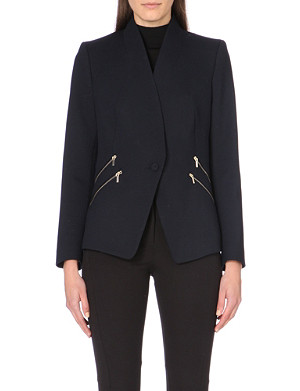 REISS Arya structured zip-detail jacket