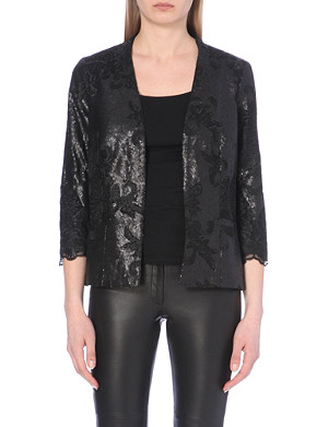 REISS Sequinned and lace jacket
