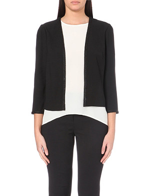 REISS Semi-sheer cropped sleeve jacket