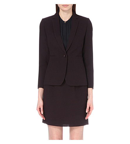 REISS Camila textured wool jacket (Grape