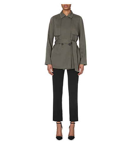 REISS Nadia belted woven mac (Pine
