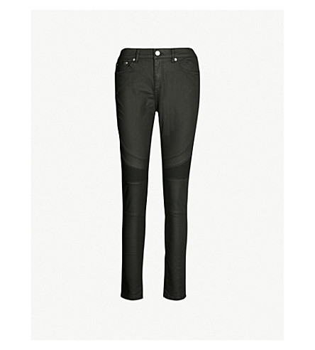 REISS Harley skinny low-rise coated jeans (Black