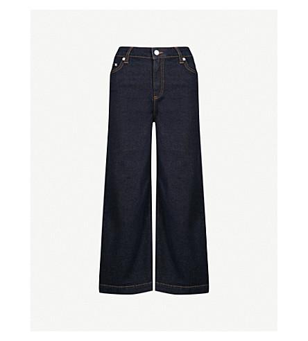 REISS Leo wide cropped high-rise jeans (Dark+indigo