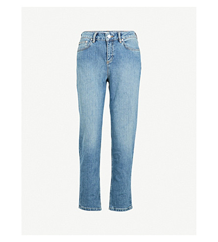 REISS Raven straight cropped low-rise jeans (Lt+indigo