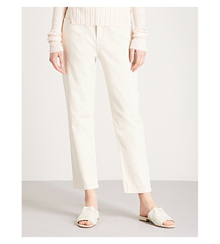 REISS Raven straight cropped low-rise jeans (Ecru
