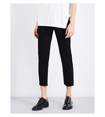 REISS Raven straight cropped high-rise jeans (Black