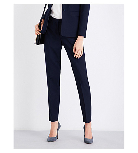 REISS Faulkner tailored-fit wool-blend trousers (Navy