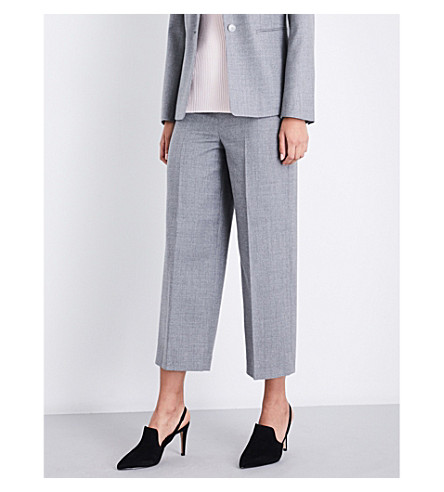 REISS Austin wide-leg wool-crepe trousers (Grey