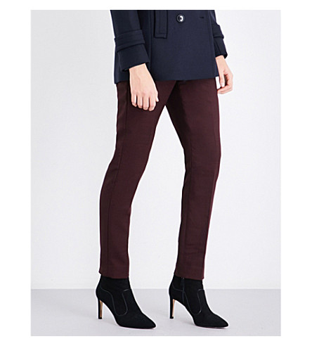REISS Atlee tailored-fit high-rise trousers (Berry
