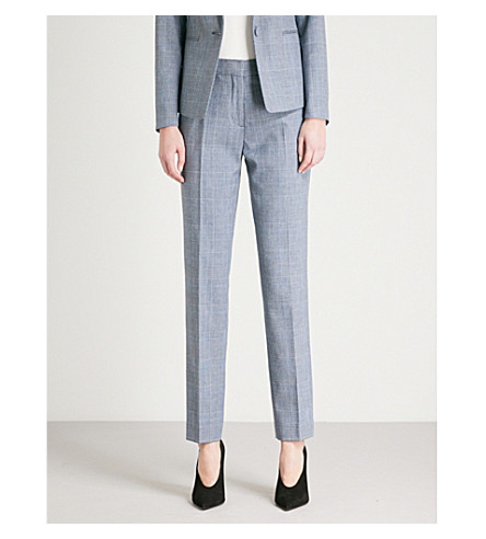 REISS Chelton checked tailored-fit wool-blend trousers (Blue