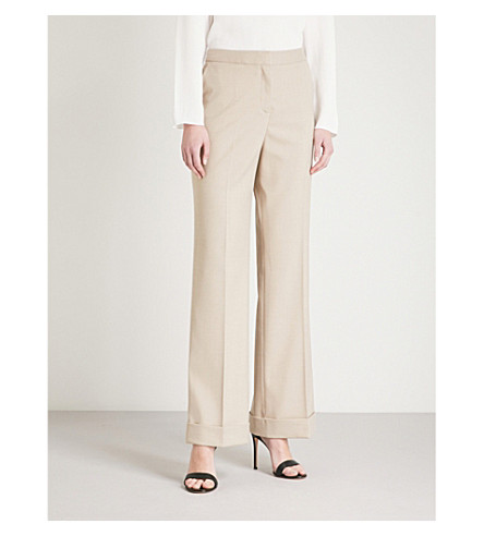 REISS Maddox tailored-fit wide twill trousers (Camel