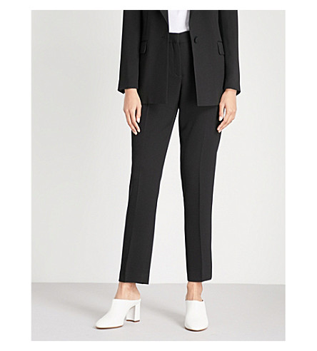 REISS Roza tailored-fit mid-rise crepe trousers (Black