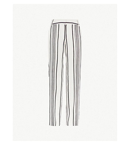 REISS Rodeo striped linen-blend trousers (White/black