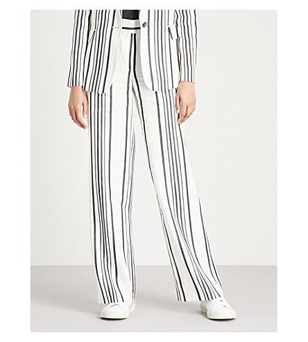 REISS Rodeo striped linen-blend trousers (White/black